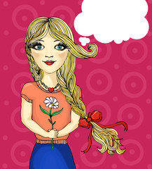 Pop Art illustration of girl with the speech bubble.Pop Art girl
