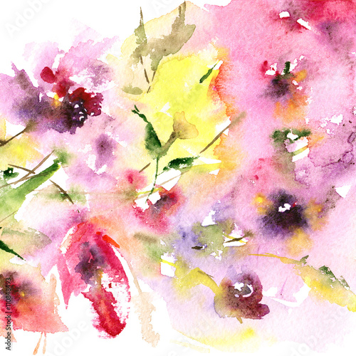 Floral background. Watercolor floral bouquet. Birthday card. - 110848493