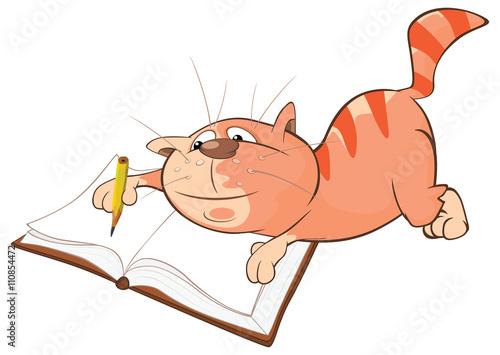 Plexiglas Illustration of a Cute Cat. Cartoon Character