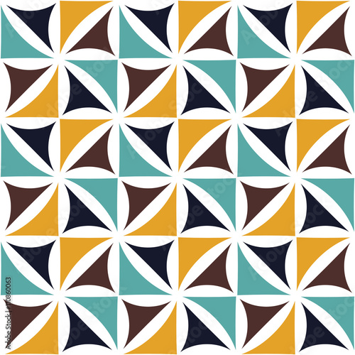 Vector modern seamless colorful geometry floral pattern, color abstract geometric background, pillow multicolored print, retro texture, hipster fashion design - 110860063