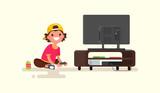 Boy playing video ga...