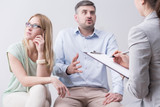 Furious man during couples therapy