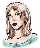 Vrouw met strenge blik