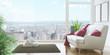 Soggiorno con divano e vista su città attico - 110870066