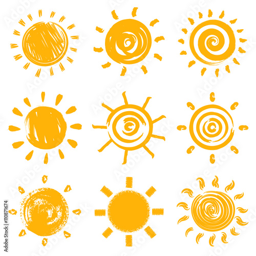Set of handdrawn sun symbols