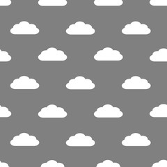 Seamless pattern of white fluffy clouds on a grey background