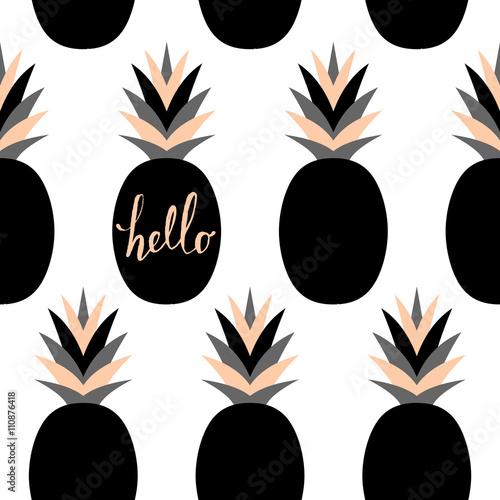Cotton fabric Black Pineapples Pattern