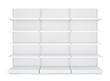 Three white blank empty retail shelves