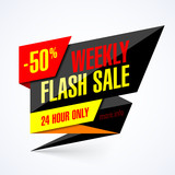 Flash Sale banner. 24 hour only special offer, up to 50% off