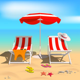 Summer. Recliners and Beach umbrella. Sea. Vector Illustration