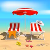 Summer. Recliners and Beach umbrella. Sea. Vector Illustration