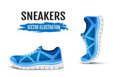 Background of two running shoes. Blue sport shoes for running. Blue curved sport shoes for running. Vector illustration