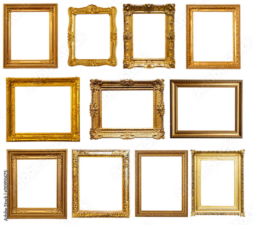 gold frames. Isolated over white