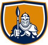 Knight Full Armor Holding Paint Brush Crest Retro