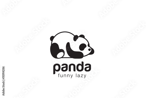 Fototapeta Panda bear silhouette Logo design vector template...Funny Lazy animal Logotype concept icon.