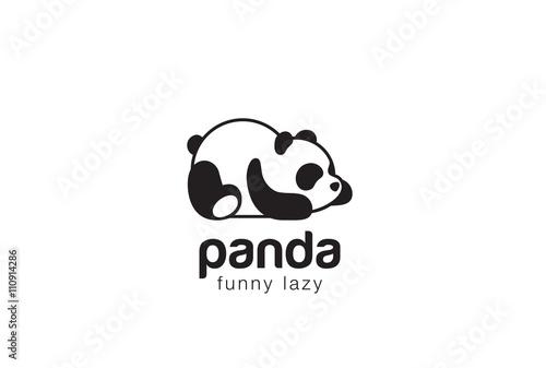 Panda bear silhouette Logo design vector template...Funny Lazy animal Logotype concept icon.