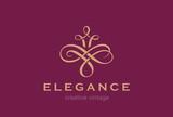 Floral Vintage Logo design abstract vector template...Flourish Vignette Logotype wedding luxury fashion jewelry concept icon.