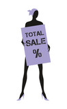 """the dummy holds the plate with the word """"sale"""". design element"""