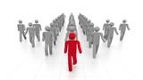 3-D men walking in arrow formation. Leadership concept.