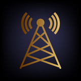 Antenna sign. Golden style icon
