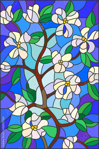 Naklejka Illustration in stained glass style with abstract cherry blossoms on a blue background