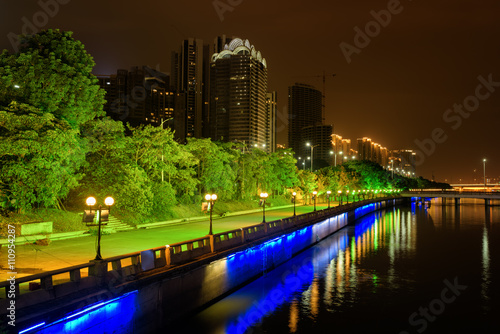 Amazing night view of the Pearl River waterfront in Guangzhou