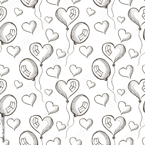 Seamless vector pattern with hand drawn air balloons on the white background. Series of Cartoon, Doodle, Sketch and Hand drawn Seamless Patterns. - 110956829