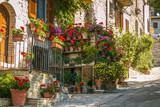 Balcone fiorito in un vicolo di Assisi