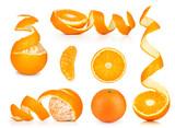 Collection of orange, slice and orange peeled skin isolated whit