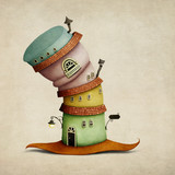 Fototapety Cheerful color  cartoon  fancy house in  form of  hat