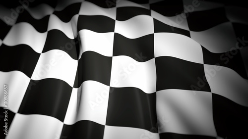 Foto op Plexiglas F1 3D rendering of wavy checkered flag, closeup background