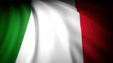 3D rendering, wavy flag of Italy, closeup background