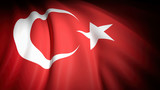 3D rendering, wavy flag of Turkey, closeup background