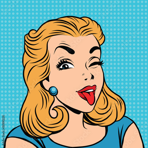 Fotobehang Pop Art Emoji retro tongue girl emoticons