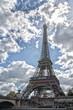 Paris sunny blue sky aerial view
