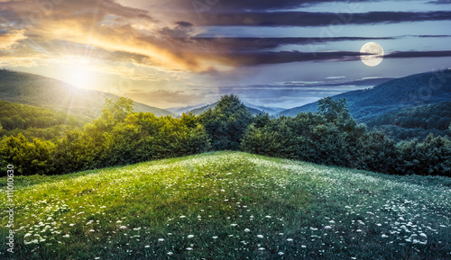 Panel Szklany composite landscape with forest in mountains