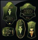 Green wine labels on black background