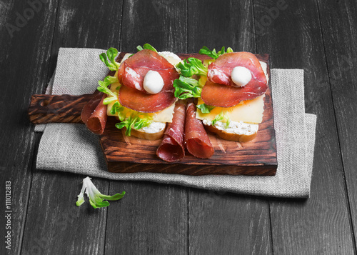 Poster Two sandwiches bruschetta