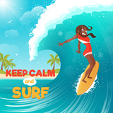 Summer Vacation Surfing Flat Colorful Poster