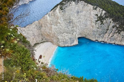 Zdjęcia na płótnie, fototapety, obrazy : Blue waters of Navagio Shipwreck beach, Zakynthos, Greece