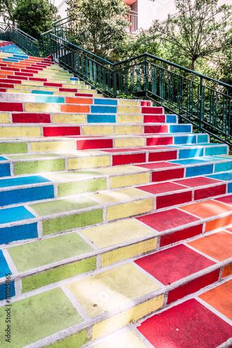 obraz lub plakat Les Escaliers colorées Rue Prunelle à la Croix-Rousse