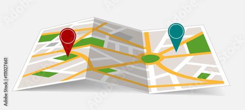 Mapa ciudad con iconos de localización