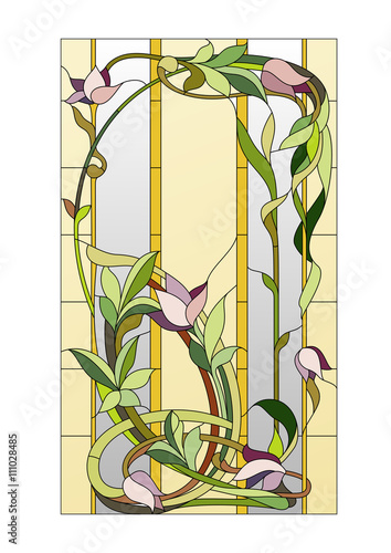 Naklejka floral stained-glass pattern