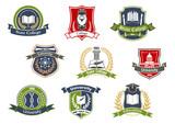 Fototapety University and college school retro heraldic icons