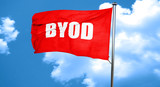byod, 3D rendering, a red waving flag