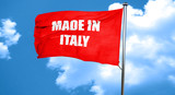 Made in italy, 3D rendering, a red waving flag