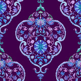 Watercolor Paisley Seamless Background. Cold Colors.