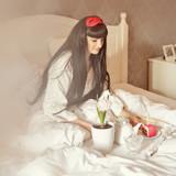 Girl breakfast in bed. Birthday.