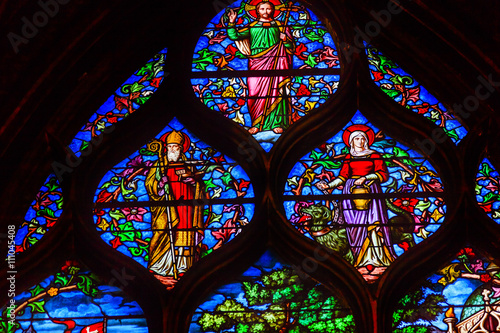 Zdjęcia na płótnie, fototapety, obrazy : Jesus Christ Bishop Stained Glass Saint Severin Church Paris