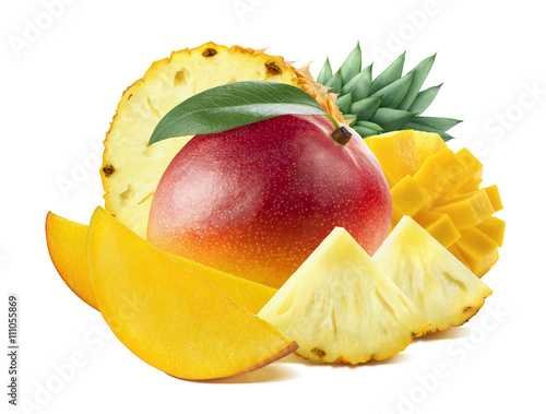 Foto Murales Peach mango long slices isolated on white background as package design element